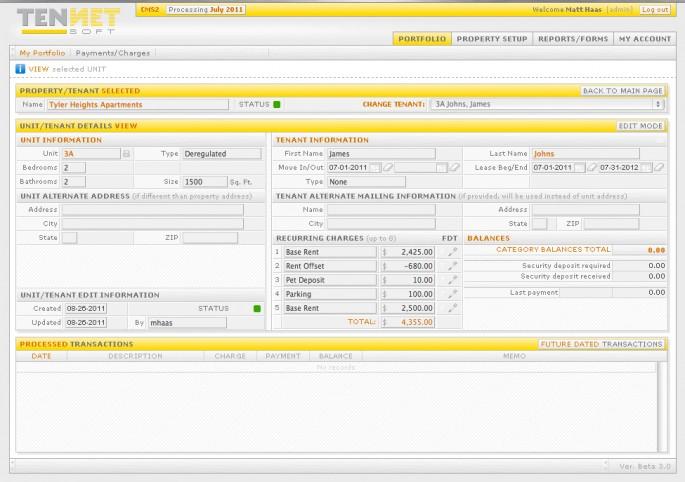 Tennet Property Management Software registration